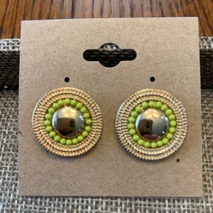 Gold and Neon Yellow Disc Post Earrings
